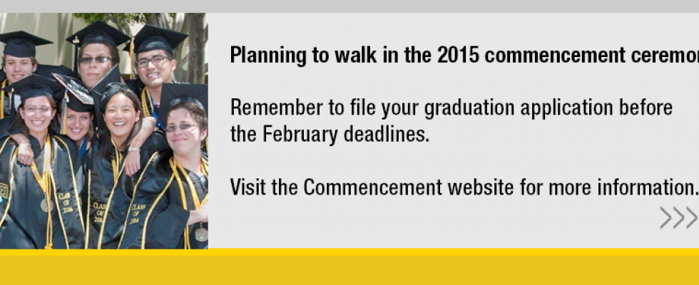 Remember to file your graduation application before February deadlines.