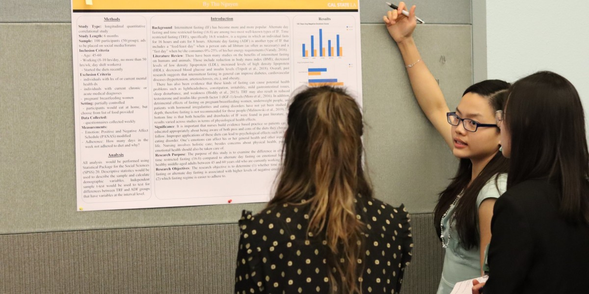 Student presenting research project