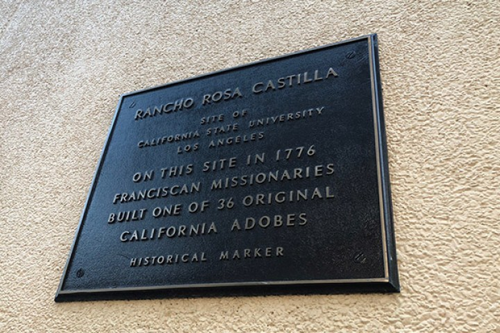 Historical mark that reads Rancho Rosa Castilla site, 1776 Franciscan Missionaries built one of 36 original adob