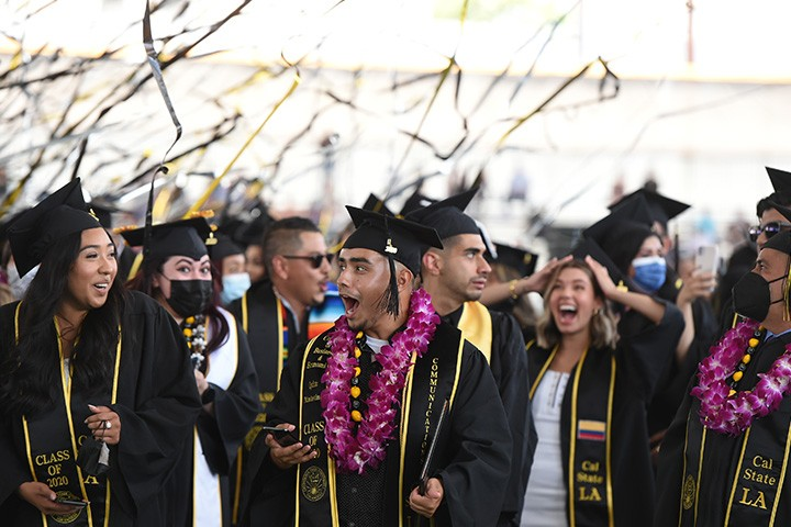 Cal State LA students celebrating commencement
