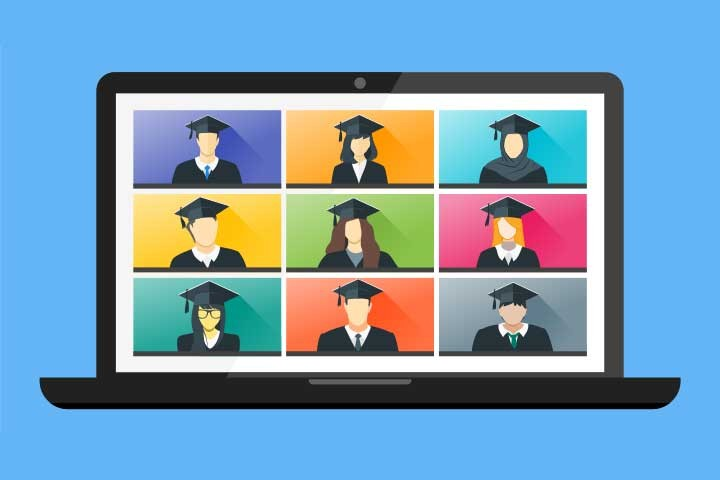 Ilustration of laptop and students with graduation caps on the screen