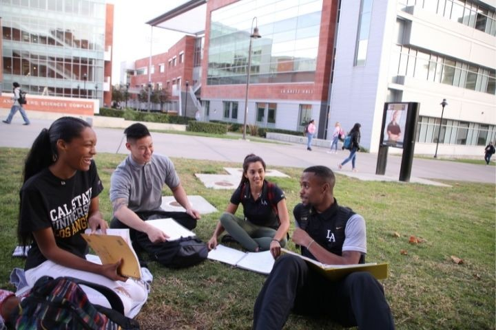 Two male students and two female students sitting on a lawn. Behind them are buildings with red brick