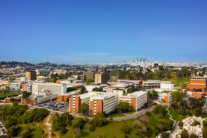 aerial view of Cal State LA campus with a clear blue sky