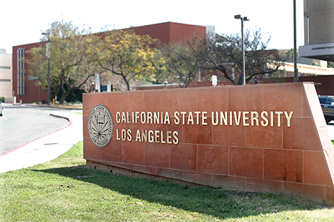 Sign at entrance of Cal State LA campus.