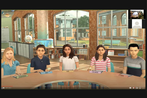 Screenshot image of a virtual classroom simulation.
