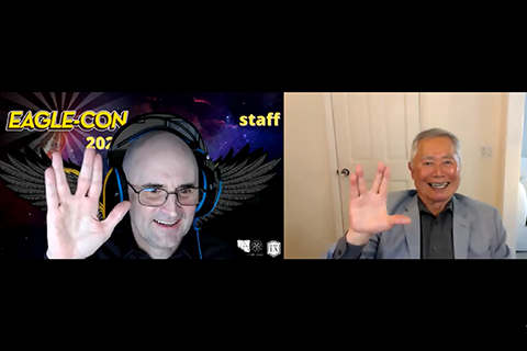 Cal State LA Professor Patrick Sharp and actor George Takei during a virtual Eagle-Con award ceremony.