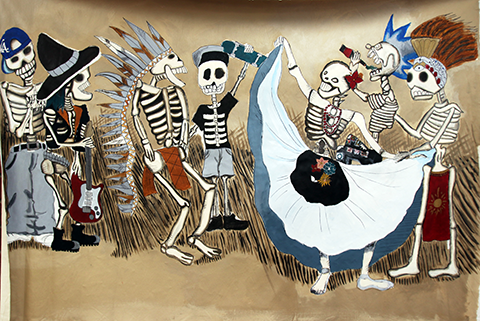 Photo of artwork by Guadalupe Velez, featuring costumed skeletons dancing together.