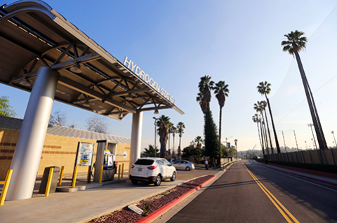 A street view of the Hydrogen Research and Fueling Center at Cal State LA.
