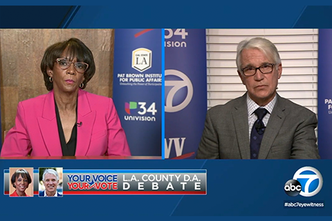 Screenshot of L.A. County District Attorney Jackie Lacey and challenger George Gascón