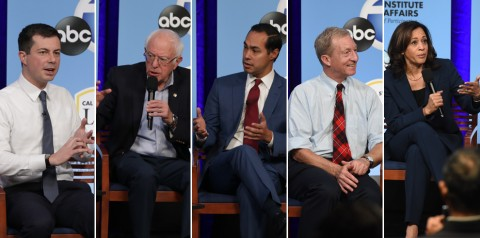 Five presidential candidates in side by side frames onstage