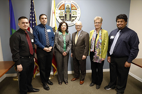 Students Matthew Gerlits and Patrick Flinner, Supervisor Solis, President Covino, ECST Dean Allen, and student Maurice Mejia