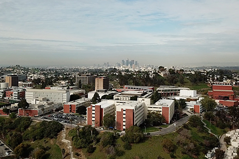An aerial view of Cal State LA's campus.