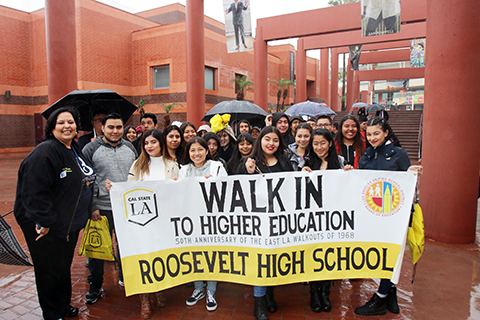 Roosevelt HS students with Monica Garcia