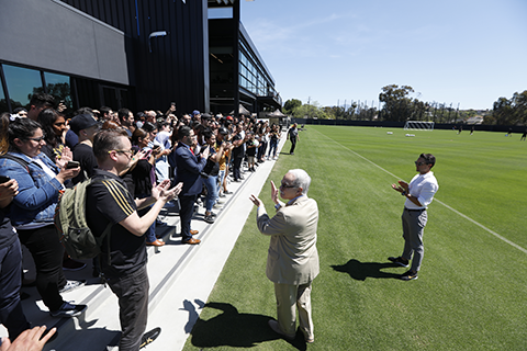 Cal State LA President and LAFC Executive VP at the LAFC @ Cal State LA open house.