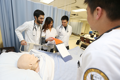 Cal State LA nursing students in simulation lab.