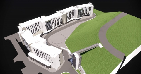 Rendering of new housing complex showing aerial view.