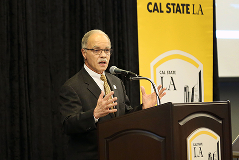 President Covino speaking at the Spring Convocation 2017.