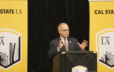President Covino presenting the State of the University address