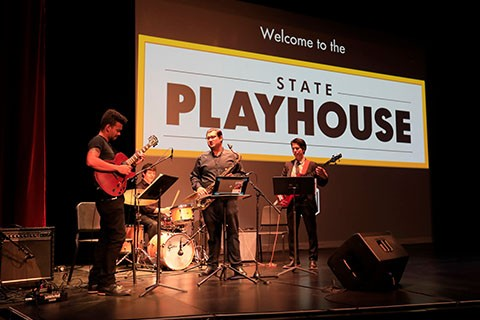 Jazz combo performs at State Playhouse reopening