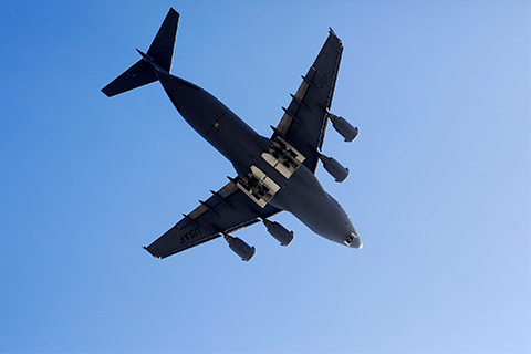 Massive military aircraft flies over Cal State LA