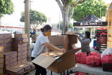 Cal State LA volunteers at a food distribution event in Boyle Heights.