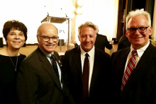 Dustin Hoffman with Cal State LA administrators at HFPA Grants Banquet.