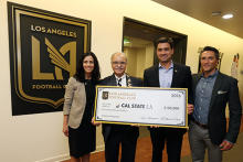 President Covino pictured with LAFC team.