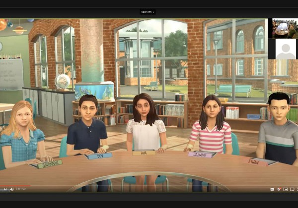 A screenshot of Cal State LA student-teachers interacting virtually with avatar pupils in a simulated classroom.