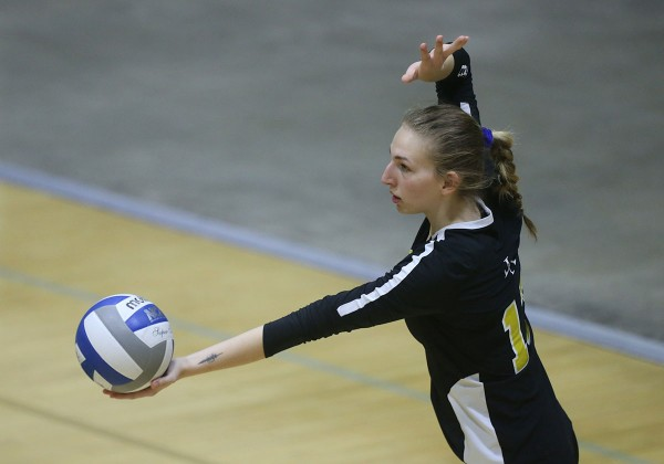 Volleyball player gets ready to serve