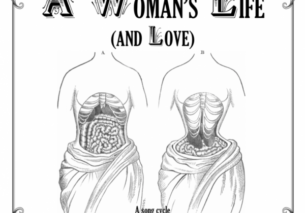 Poster, drawing of two female torsos with rib cage and organs