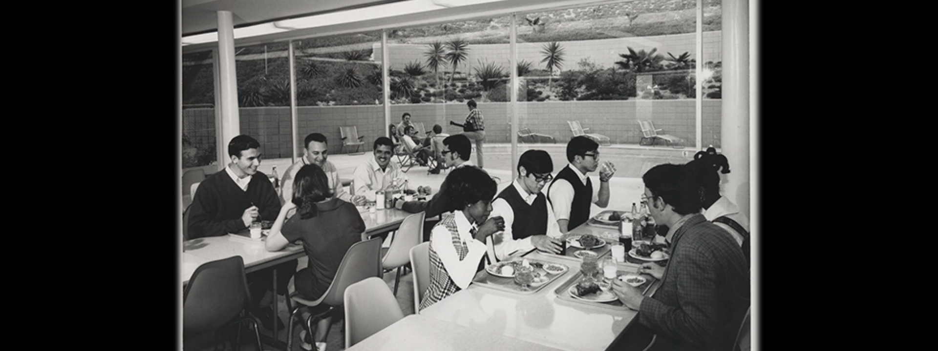 Cal State LA students in cafeteria during the 1970s