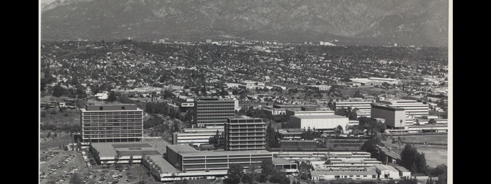 Birdseye view of Cal State LA in the 1970s