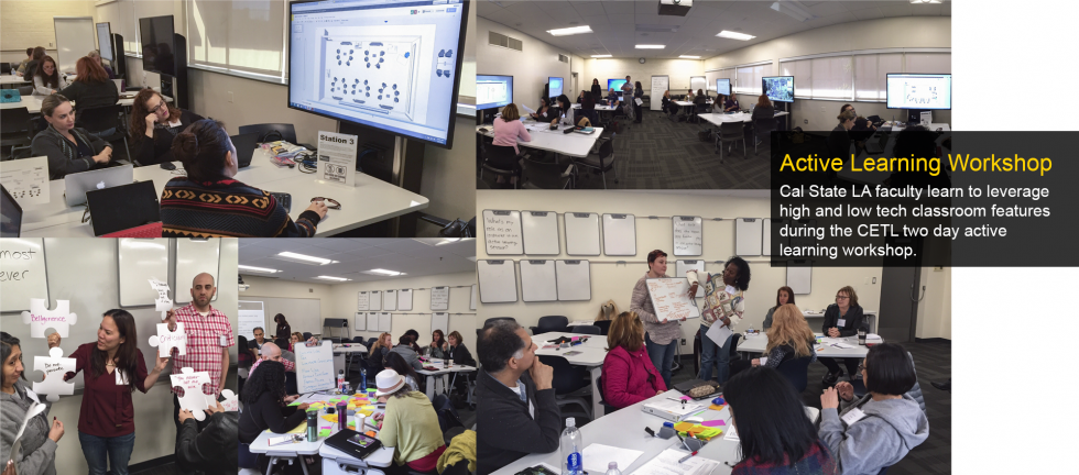 Cal State LA faculty learn to leverage high and low tech classroom features during the CETL two day active learning workshop.
