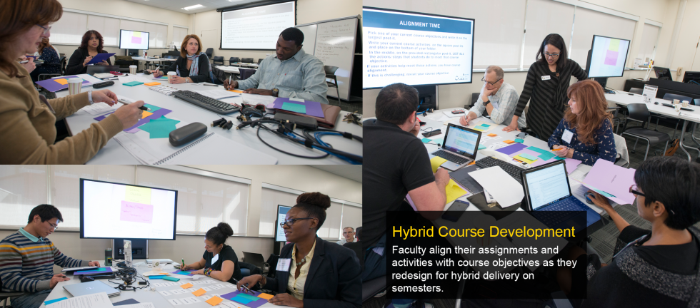 Faculty align their assignments and activities with course objectives as they redesign for hybrid delivery on semesters.