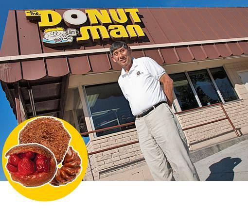 Jim Nakano in front of The Donut Man shop