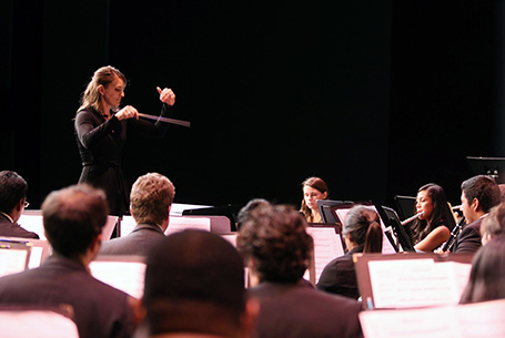 Professor Emily Moss conducts the University Orchestra
