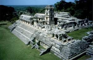 The palace of Palenque, a Maya city.