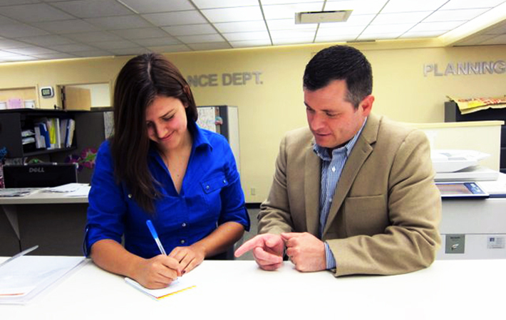 Cal State L.A. student Laura Lozano was mentored by alumnus Sergio Gonzales during the Job Shadowing Program.