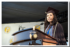 Student Valerie Ramos speaks during the undergraduate ceremony for the College of Health and Human Services during the 67th Commencement.