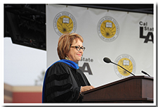 Maria Elena Durazo speaks at the ceremony for College of Arts and Letters at the 67th Commencement.