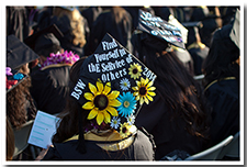 A student's decorated cap for the 67th Commencement.