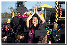 A student celebrates during the 67th Commencement.