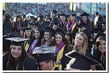Students smile for the camera at the 67th Commencement.
