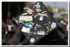 A decorated cap at the 67th Commencement.