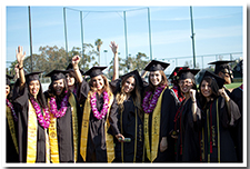 Students celebrate before the 67th Commencement ceremony.