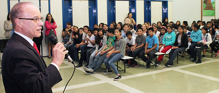 President Covino visits an elementary school as part of the GO East L.A. program