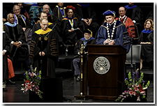 CSU Chancellor Timothy White speaks at the Investiture ceremony on May 9.
