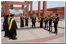 President William A. Covino is serenaded by the Cal State L.A. Mariachi Band after the Investiture.