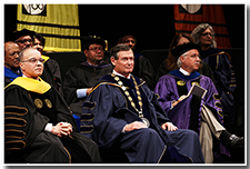 President William A. Covino, left, and CSU Chancellor Timothy White listen to the speakers at the Investiture ceremony on May 9.