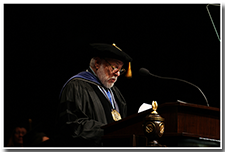 Sonoma State President Ruben Arminana speaks on behalf of the CSU Presidents at the Investiture ceremony on May 9.